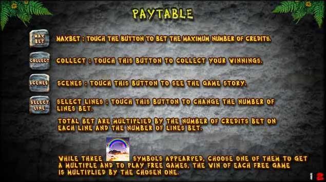 jungle slot pay table